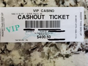 VIP Gaming Sioux Falls, SD Winning Ticket